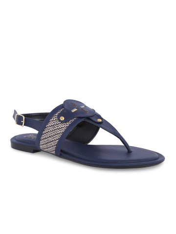 Back Strapped Navy Blue Sandal