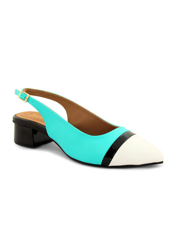 Turquoise Blue Pointed Slingback Block Heels