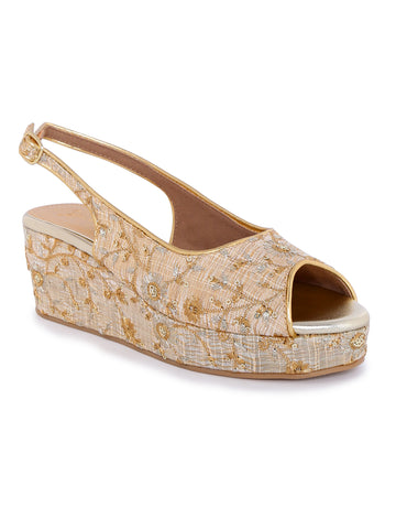 Ethnic Beige Wedges