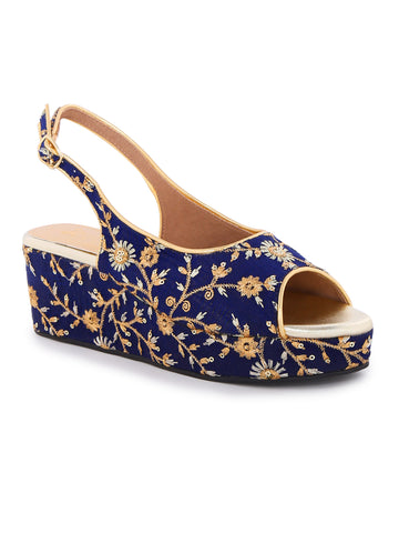 Ethnic Navy Blue Peep Toe Wedges