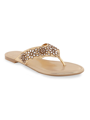Gold Zardosi Flat Slip-On's