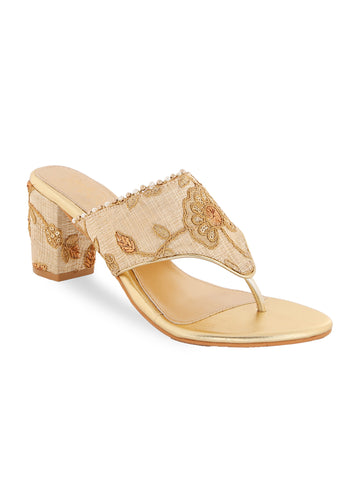 Ethnic Beige Embroidery Block Heels
