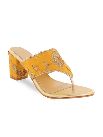 Ethnic Yellow Embroidery Block Heels