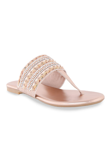 Rose Gold T-strap Ethnic Flats