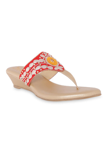 Red V-strap Ethnic Wedges