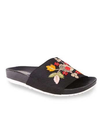 Floral Black Slip-On's