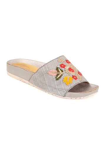 Floral Silver Slip-On's