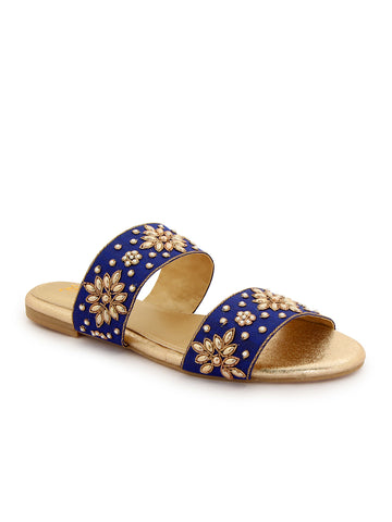 Royal Blue Ethnic Strapped Slip On's