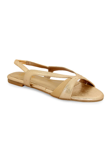 Beige and Gold Backstrap Sandal