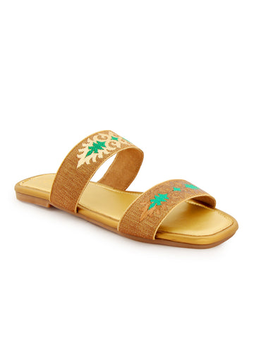 Gold and Green Strapped Slip On's