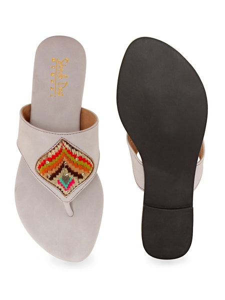 Grey Multi-Patch Flat Slip On's