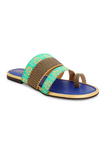 Blue Ethnic Strapy Slip-on's