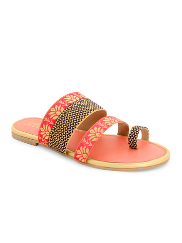 Pink Ethnic Strapy Slip-On