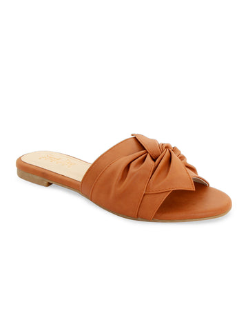 Tan Bow Slip-On Mules