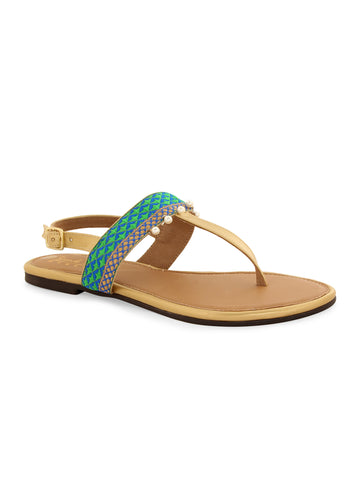 Green pull strap sandals