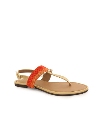 Red pull strap Sandals