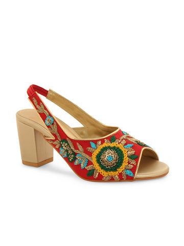 Red Embroidery Block Heel Sandals