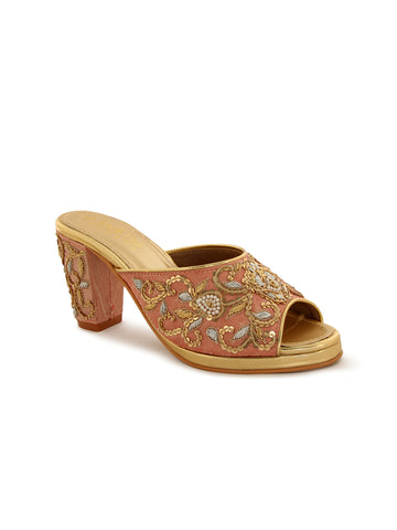 Rose Gold Embroidery Block Heel Peep Toes