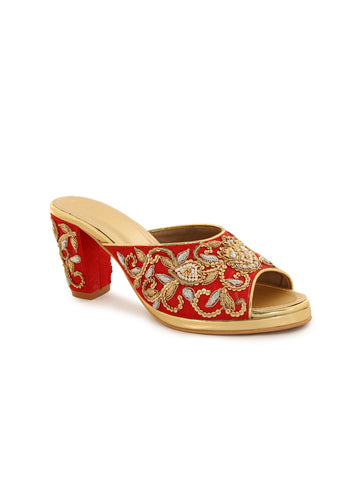 Red Embroidery Block Heel Peep Toes