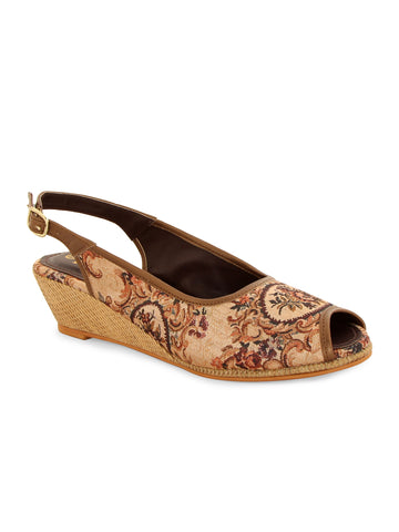 Brown Printed Slingback Peep Toe