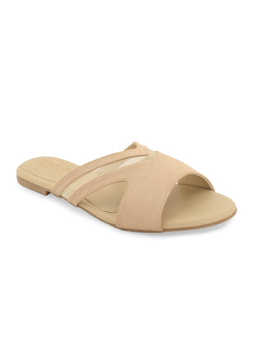Beige Suede-Netted slip on