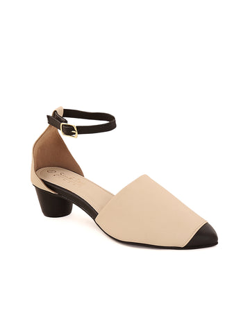 Beige Pointed Closed Platform Heel