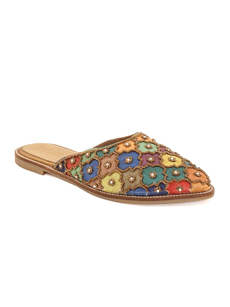 Gold Multi Coloured Ethnic Slip-on's