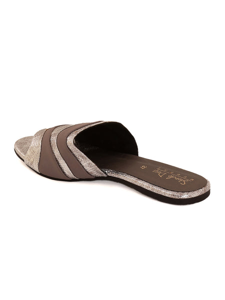 Silver Closed Flat Slip On's