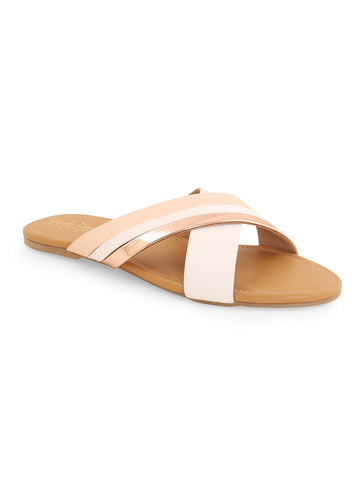 Beige Cross Strap Slip On