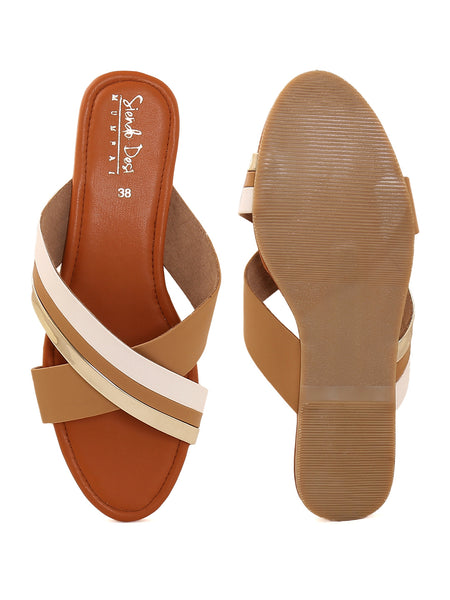 Tan Cross Strap Slip On