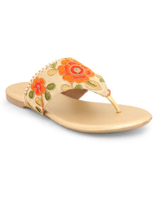 Floral Gold Ethnic Slip On