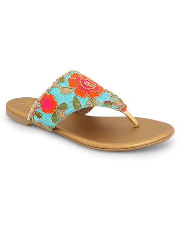 Floral Turquoise Blue Ethnic Slip On