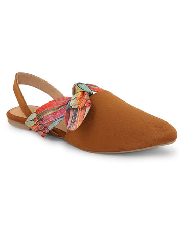 Back Strap, Open Toe and Slip-On Closure Flats For Women's - Brown