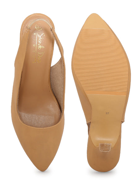 Beige Back Starp Closed Pumps