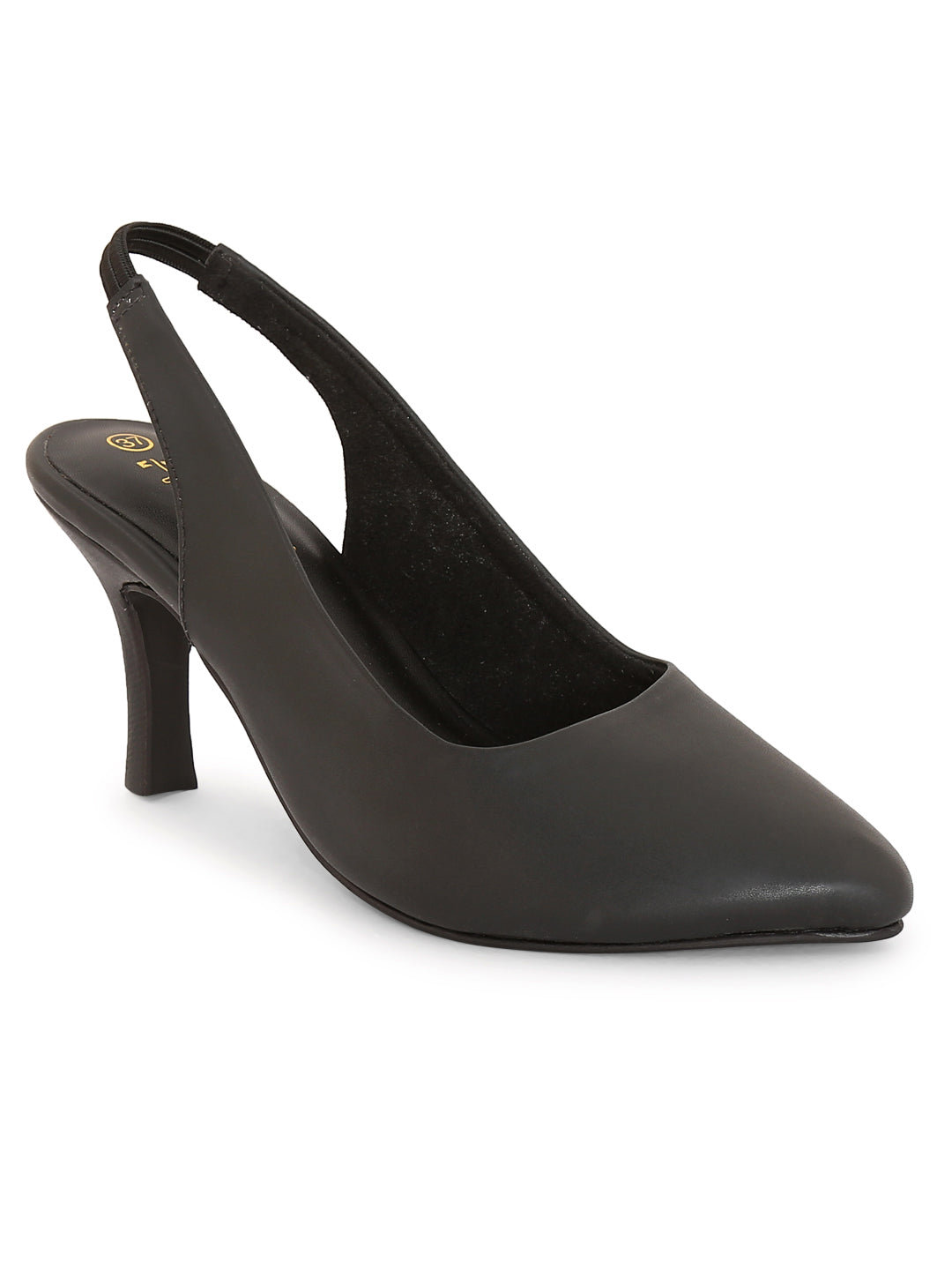 Black Back Strap Closed Pumps