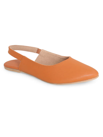 Open Toe and Slip-On Closure Flats For Women's - Tan