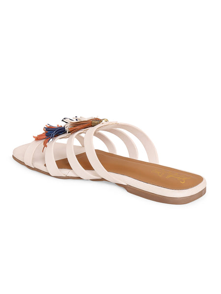 Women's Diamante Caged Strappy Flat - White
