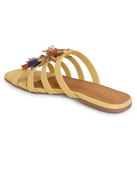 Women's Diamante Caged Strappy Flat - Yellow