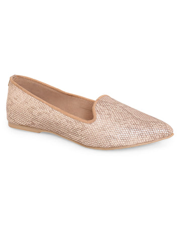 Rose Gold Pointed Toe and Closure Shoes For Women's