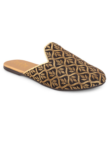 Gold Woven Design Slip-On Mojari
