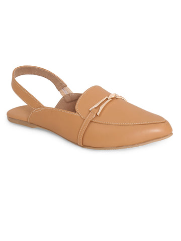 Tan Pointed Toe and Slip-On Closure Flats