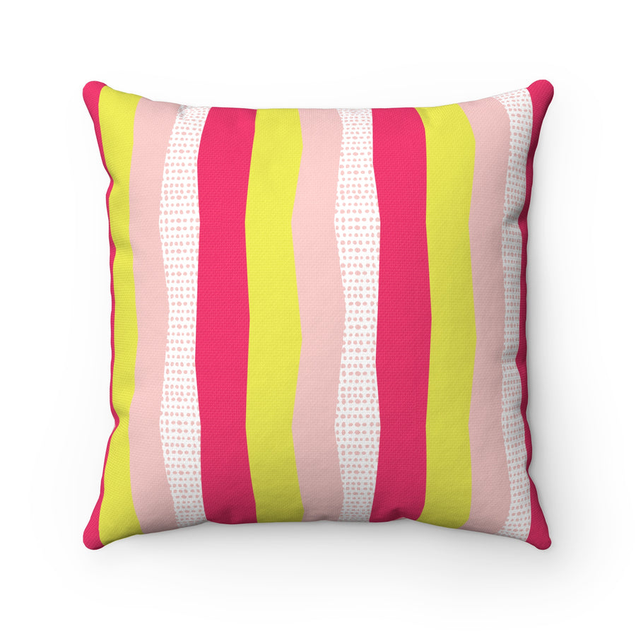 Sweet Stripes Spun Polyester Square Pillow Case