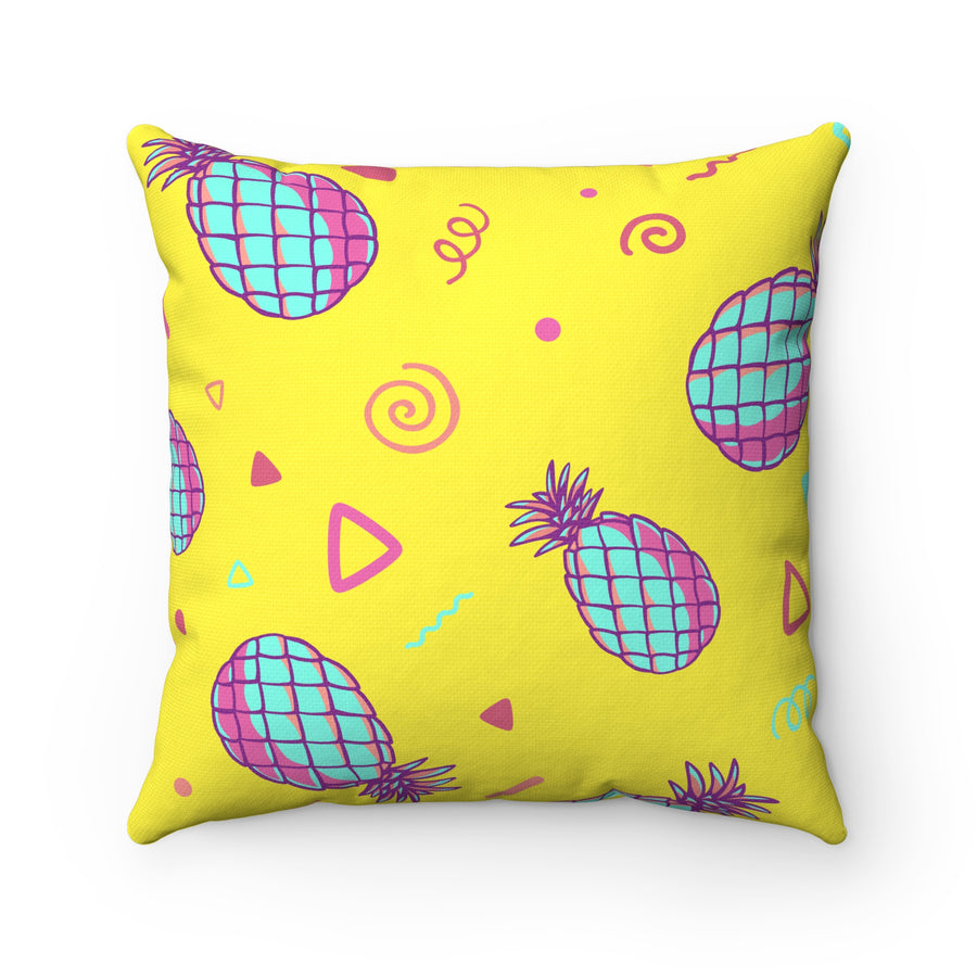 Retro Pineapples Spun Polyester Square Pillow Case - Design Prints