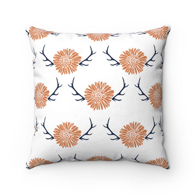 Floral Antler Spun Polyester Square Pillow Case - Design Prints