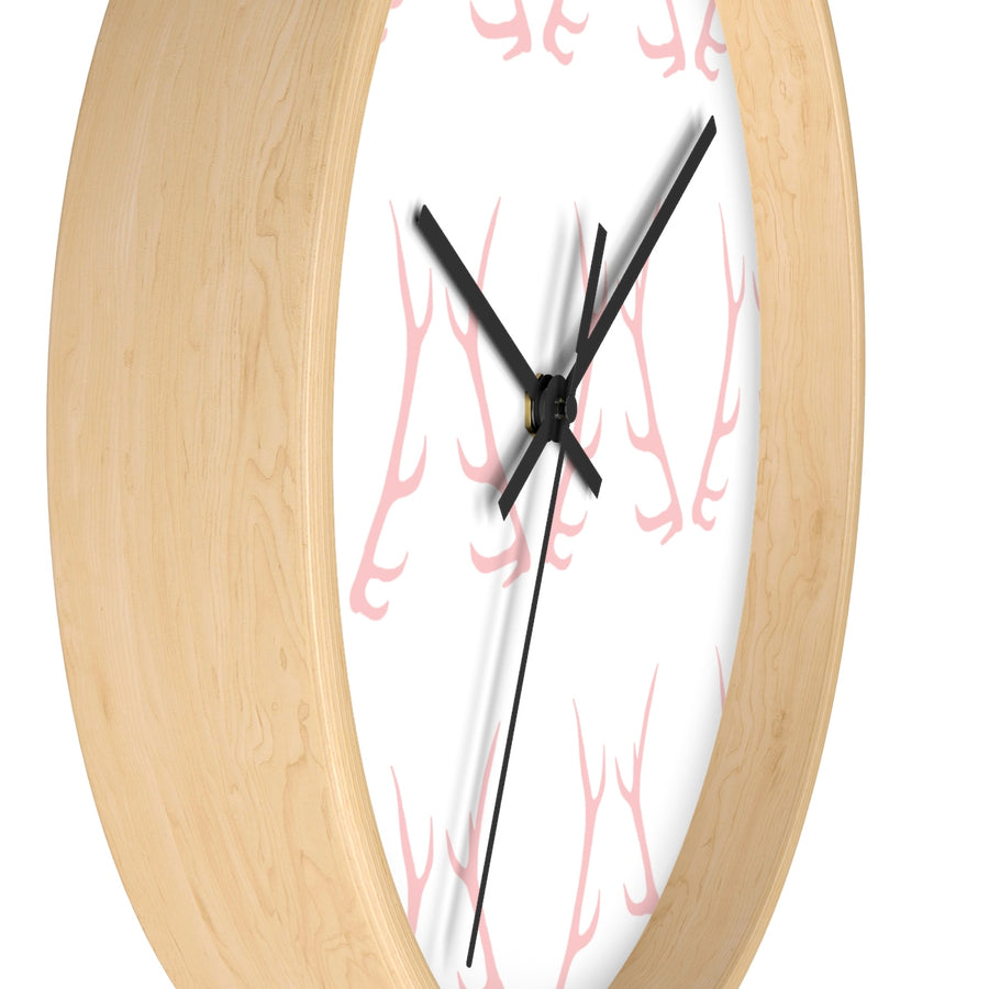 Pink Antler Wall clock