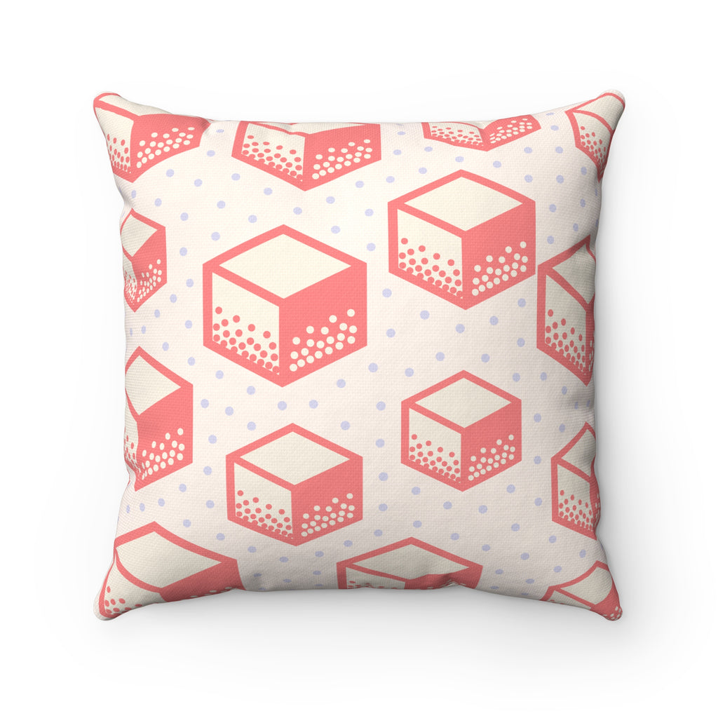 Pop Pink Cube Square Pillow