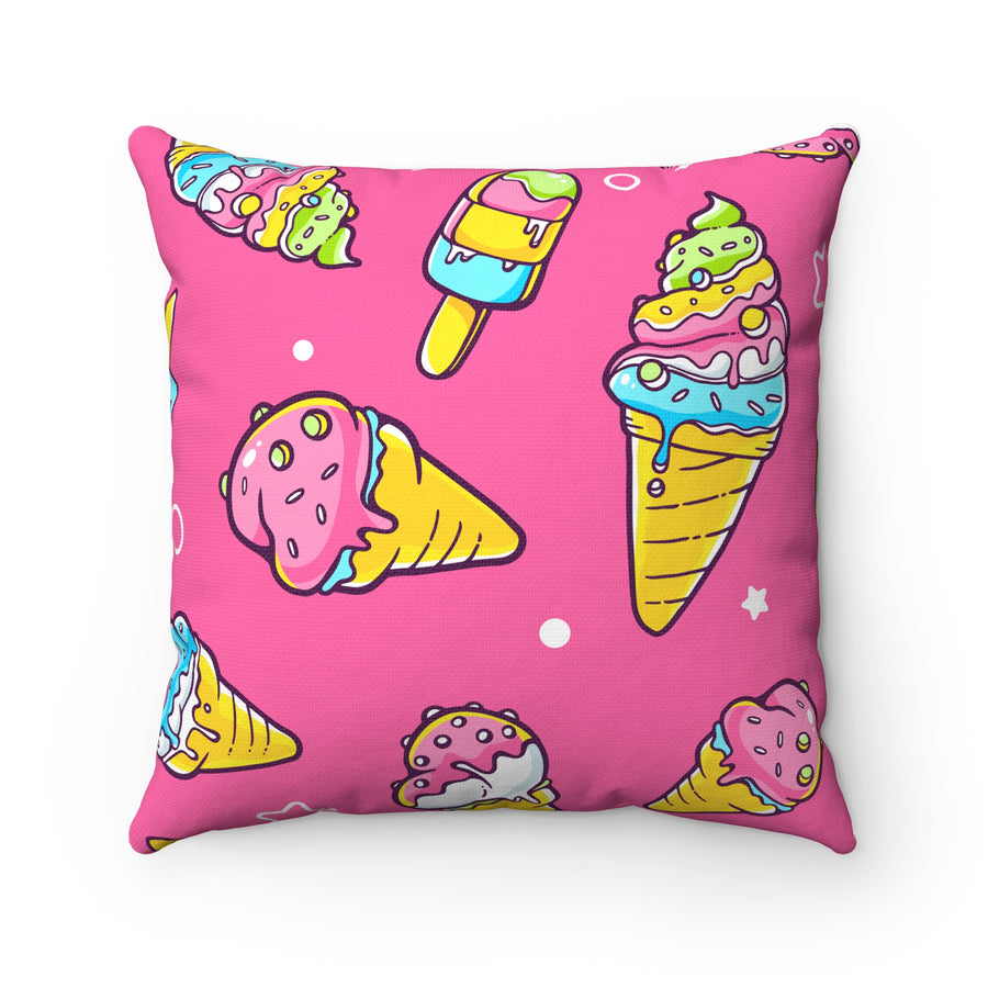Ice Cream Spun Polyester Square Pillow Case