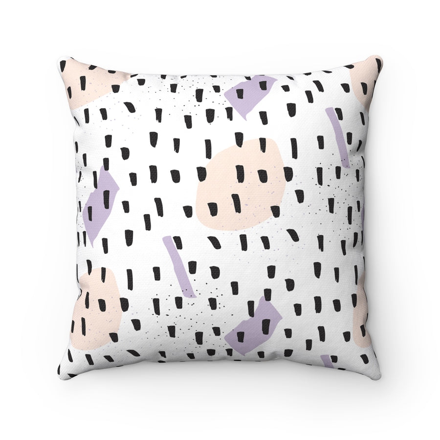 Black Sprinkles Spun Polyester Square Pillow Case