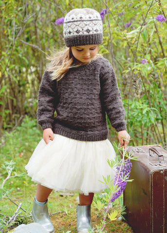 Avery Sweater & Hat by Lisa F Design Knitted with Wild Earth Yarns natural yarns