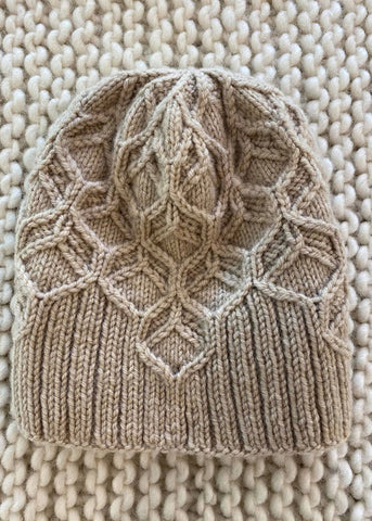 Beeswax Beanie Knitted with Wild Earth Yarns natural yarns